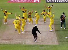 1999 World Cup semi-final: A crestfallen Allan Donald walks past the celebrating Australians.
