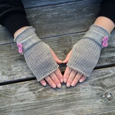 Knit Fingerless Gloves with Bow Wrist Warmers by WendysWonders127
