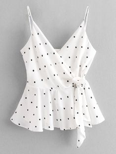 Cami Dots Wrap Tank Top  WHITE , #sponsored, #Wrap, #Dots, #Cami, #WHITE, #Top #Ad