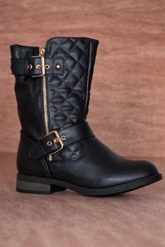 Urban Cowboy Quilted Double Buckle Zipper Moto Boots SEVILLA-19 - Black from Forever at Lucky 21 ☺ ☺