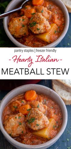 It's stew time and what better way to start off the cooler weather than with this Delicious Hearty Meatball Stew. The perfect meatballs in a rich tomato sauce filled with potatoes and carrots. So good it will become a new dinner favourite! This healthy family dinner uses pantry staples, is freezer friendly, and comes together in under and hour! Such a quick and easy dinner recipe! #meatballs #stew #italian #healthydinner Meatloaf Recipes, Meat Recipes, Crockpot Recipes, Cooking Recipes, Italian Soup, Italian Foods, Italian Recipes, Cajun Meatball Stew Recipe, Meatball Recipes