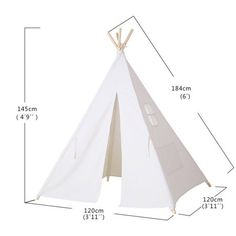Kid's Authentic Giant Canvas Indian Teepee Play Tent Indoor Ourdoor Playhouse White Color Image 1 of 4 Diy Kids Teepee, Teepee Play Tent, Diy Tent, Kids Tents, Teepees, No Sew Teepee, Indian Teepee, A Frame Tent, Wooden Poles