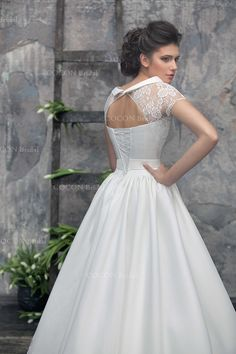 """Luxury A-line Wedding Dress with Vintage Lace Mikado silk and Chantilly lace Dream Dress Vintage Inspiration Haute Couture dress- """"Alpha"""""""