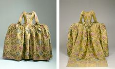 Wedding Dress from North Vosborg, ca. 1766, Danish, silk brocade with floral embroidery. From the wedding of twenty-four-year-old Mette Kjaer Bagge to the merchant Peter Tang in Ringkjøbing Church. NATMUS DK