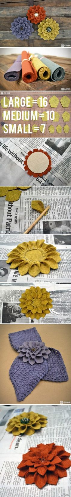 three layers felt flower http://www.duitang.com/people/mblog/58435607/detail/