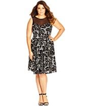 City Chic Plus Size Printed Illusion-Neckline Dress