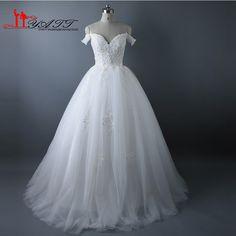 e8669d4289d Aliexpress.com   Buy Liyatt Vestido de Noiva Off Shoulder Ball Gown Wedding Dresses  2017 Lace Appliques Crystal Robe de Mariage Real Photos MN019 from ...