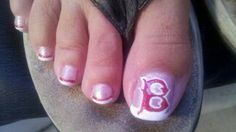Boston Red Sox nail art!!! ---But with the Block O!!
