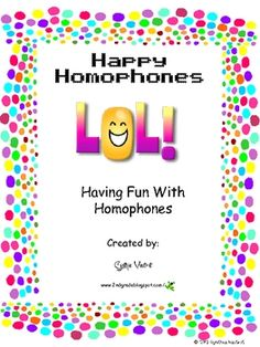 This is a 30 page jam-packed, fun filled unit to teach your students all about homophones.  Includes:  *riddles to make your students laugh and help them to remember homophones *a homophone student booklet to make *homophone concentration *homophone round (I have, who has?) *homophone match-up  These activities can be placed in language arts or reading stations and used with individual, partner, small group or even whole-group. #homophones #languagearts #TPT