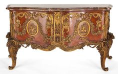 LOUIS XV STYLE GILT BRONZE MOUNTED MAHOGANY COMMODE WITH MARBLE TOP, AFTER THE MODEL BY ANTOINE GAUDRAUX .