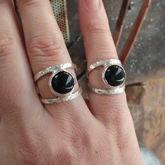 These two black onyx ring has just finished today and They remind me eyes...