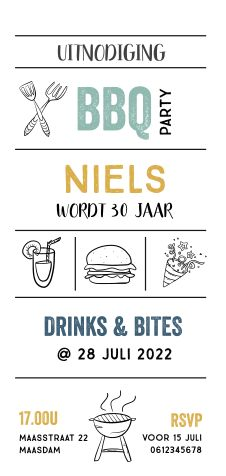 Uitnodiging 30e verjaardag tuinfeest met bbq Black White Parties, Black And White, Bbq Party, Rsvp, Invitations, Graphic Design, Drinks, Birthday, Quotes