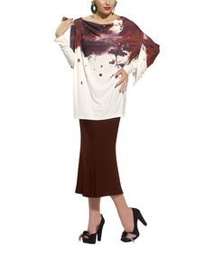 Take a look at this Brown Splatter Tunic & Flare Skirt - Women & Plus by Donna on #zulily today!