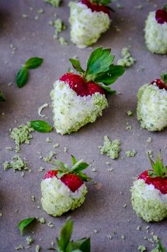 Looking for a last minute dessert to share with that special someone?  Try these white chocolate dipped strawberries with basil sugar