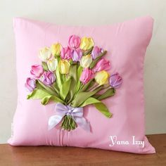 "380 Likes, 7 Comments - Yana Izzy (@yana_izzuddin) on Instagram: ""Tulip bouquet on pink Made by order  . . . . Size 40x40cm IDR 175K #ribbonembroidery #sulampita…"""