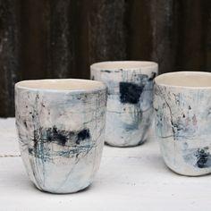 Ceramic cups by Susan Simonini Pottery Houses, Pottery Pots, Ceramic Pottery, Slab Pottery, Thrown Pottery, Ceramic Studio, Ceramic Clay, Porcelain Ceramics, Porcelain Dinnerware
