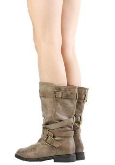 pictures of mid calf riding boots flat | Mid Calf Buckle Worker Boots""
