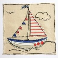 "Lovely little collection of appliqué sailing boats on canvas. Great as a card, or perhaps framed for a little childs bedroom. 6"" x 6"" - couples complete with envelope and cellophane wrap for protection."