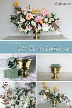 Create a fabulous and dramatic silk floral centerpiece for your home dining room table decor or wedding!