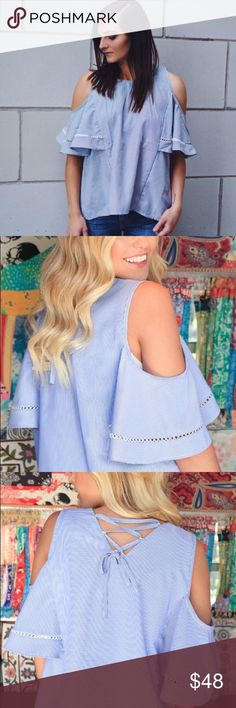 """Pinstripe Cold Shoulder Top This cold shoulder top has the sweetest pinstripes with subtle lace up details and the perfect statement sleeves. Perfect with skinnies or a midi skirt for date night!  c o n t e n t + 100% polyester  c o l o r + gray  m e a s u r e m e n t s ✂️ + 19"""" pit to pit + 23"""" total length - front + 25"""" total length back    p a i r  w i t h 🌙  + midi skirts  + 7 for all mankind skinny 💵 bundle for a discount Tops"""