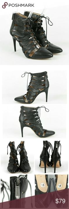 "BCBGMAXAZRIA Bren Lace Up Leather Pump Booties Size 8.5M.  BCBGMAXAZRIA Bren Lace Up Leather Pumps in black. MSRP $325. Feature edgy cutouts, adjustable laces, stiletto heels and a pointed toe. Leather upper. Man-made lining. Leather sole. Heels measure approx 4"" in the back. New, never worn but do show slight wear on soles and a few faint scratches in the leather from being tried on/handled. BCBGMaxAzria Shoes Heels"