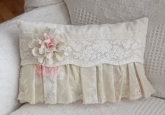 Etsy Tattered Rose and Ruffles Pillow