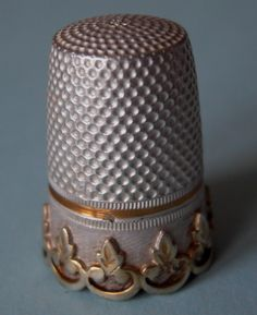 Antique French Solid Silver Gilt Thimble c1918 20