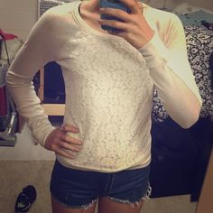 XS White Abercrombie and Fitch Sweater. Off white form fitting sweater. Floral lace in front. Comfortable and cotton material. Abercrombie & Fitch Sweaters Crew & Scoop Necks