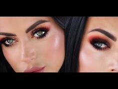 Warm glittery smokey makeup tutorial - YouTube