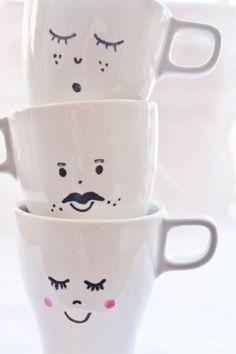 DIY tazas de porcelana pintadas con carita.