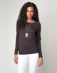 Bershka Serbia - Bershka studded shoulder sweater