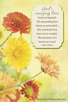 Here's a quote you can send as a note…God's amazing love leaves us amazed. His astounding love leaves us astounded. His wonderful love leaves us in wonder. His awesome love leaves us in awe! -Roy Lessin (more Note Quotes to share at the website! Christian Cards, Christian Faith, What Makes You Happy, Are You Happy, Positive Thoughts Quotes, Inspirational Verses, Bless The Lord, Fathers Love, God Loves You