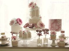 A cake dessert table designed by Cotton & Crumbs