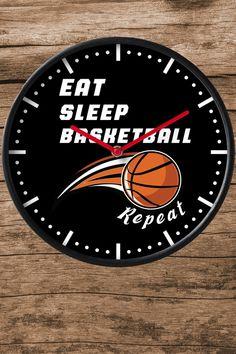 eat sleep basketball repeat funny Clock for basketball lovers and basketball players