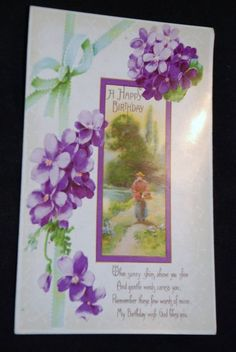 1920 th Birthday Greeting Vintage Postcard Series 518 PC Post Card