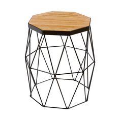 Modern Contemporary Oak Side Table/Stool - Black Steel Metal Base