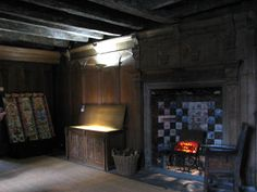 John Knox House, painted ceilings, wood chest, inglenook, High Street, Edinburgh 2012