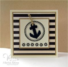 Handmade card by Marisa Ritzen using the Strong Anchor set and Nautical Die Set from Verve.  #vervestamps