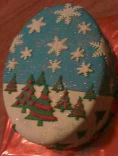 Kersttaartje met groen-rode binnenkant