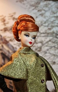 Redhead Barbie in olive cape-very mad men :)