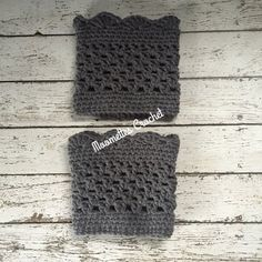Handmade Crochet Gray Boot Cuffs Grey Legwarmers Chunky Calf Warmers