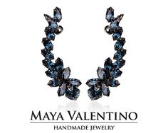 Climbing Earrings, Blue Navy Earrings, Bridal Blue Earrings, Statement Ear Crawler,Bridal Climbing E Navy Earrings, Emerald Green Earrings, Prom Earrings, Cuff Earrings, Bridesmaid Earrings, Prom Jewelry, Climbing Earrings, Ear Crawler Earrings, Jewelry Model