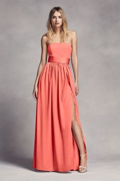 0f5f5a0dd489 Long Strapless Bridesmaid Dress with Belt Style VW360307, Biscotti, 0