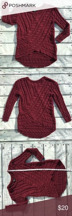 Nasty Gal dark red sweater size XS Preowned woman's Nasty Gal dark red thick sweater the back is a tad longer size XS does have normal sweater wear some fuzzies very cute sweater perfect for fall and winter Nasty Gal Sweaters Crew & Scoop Necks