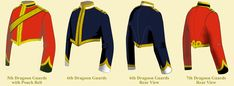 British; Dragoon Guards & Dragoons 1880-1900, 5th -7th Dragoon Guards' Officer's Stable and Mess Jackets