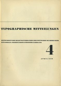 Cover Typographische MItteilungen, 27. Jahrgang, Heft 4, April 1930