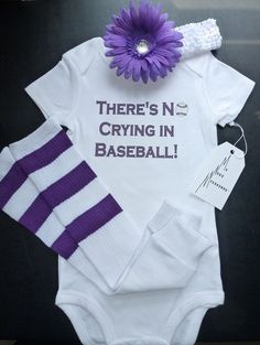 Theres No Crying in Baseball Onesie Leg warmer and Headband Flower clip Set in PURPLE Infant Baby Toddler Sizes via Etsy