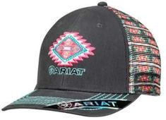 Ariat Western Hat Womens Baseball Snap Back One Size Gray 1506906 #hat #womens