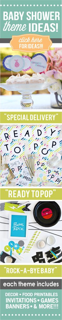 """So many cute ideas and printables for a """"Special Delivery"""" themed baby shower, a """"Ready to Pop"""" baby shower, AND a """"Rock-a-Bye Baby"""" themed shower."""