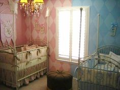 baby rooms for boy and girl sharing | ... down the middle. Great idea for girl/boy twins sharing a nursery